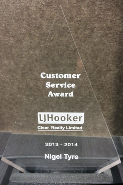 Nigel Tyre Best Customer Care Award LJ Hooker
